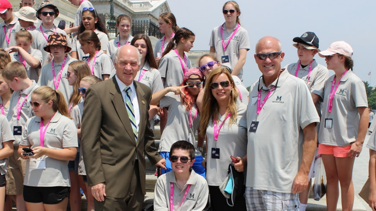 Congressman Keating with Students on the Capitol Steps